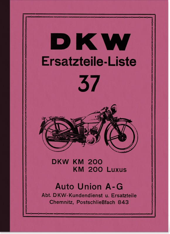 DKW KM 200 and KM 200 Luxus Spare Parts List Spare Parts Catalogue Parts Catalogue