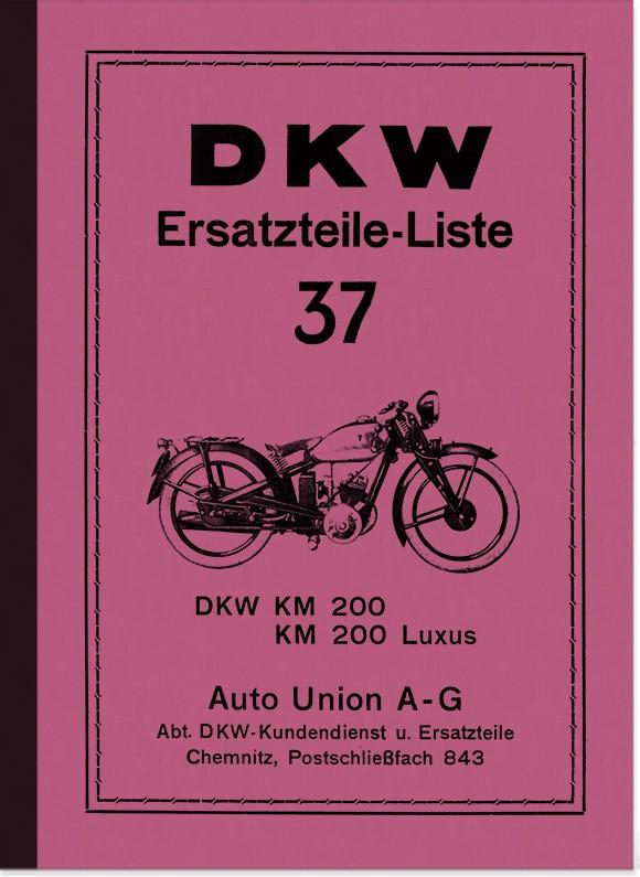 DKW KM 200 und KM 200 Luxus Ersatzteilliste Ersatzteilkatalog Teilekatalog