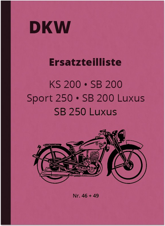 DKW KS 200, SB 200 and SB 250 Luxus Sport Spare Parts List Spare Parts Catalog