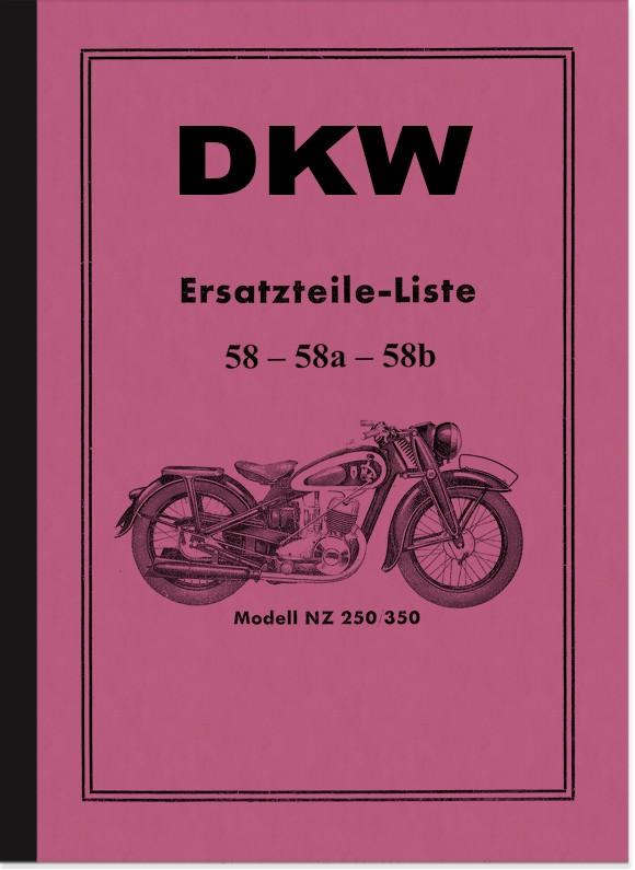 DKW NZ 250 und NZ 350 Ersatzteilliste Ersatzteilkatalog Teilekatalog
