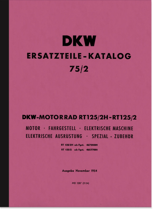 DKW RT 125/2 and RT 125/2 H spare parts list spare parts catalog parts catalog