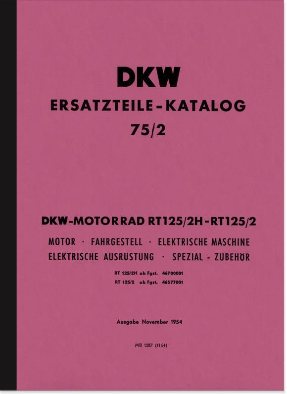 DKW RT 125/2 und RT 125/2 H Ersatzteilliste Ersatzteilkatalog Teilekatalog