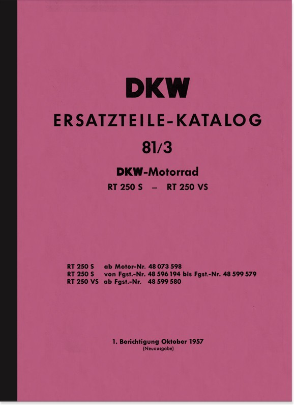 DKW RT 250 S und RT 250 VS Ersatzteilliste Ersatzteilkatalog Teilekatalog