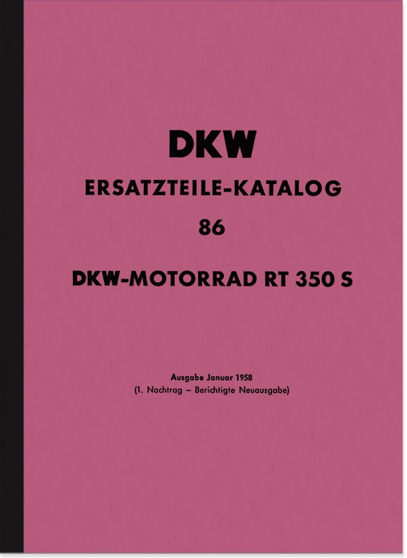 DKW RT 350 S spare parts list spare parts catalog parts catalog