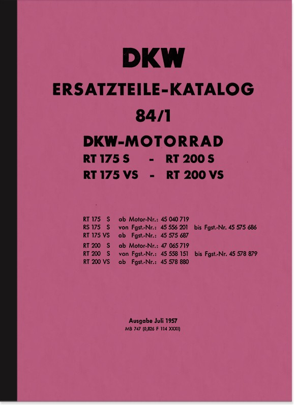 DKW RT 175 S, RT 175 VS, RT 200 S and RT 200 VS spare parts list