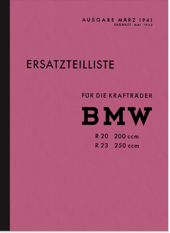 BMW R 20 and R 23 spare parts list spare parts catalog parts catalog