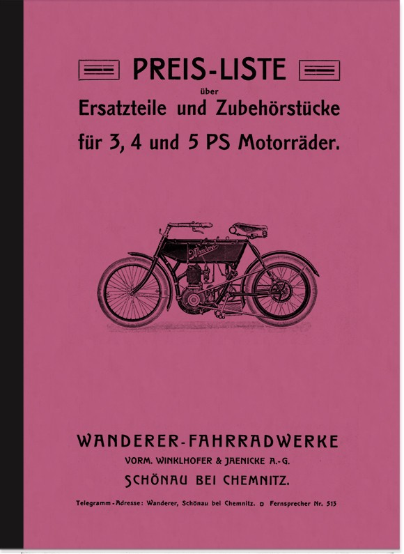 Wanderer 3 HP, 4 HP and 5 HP 1906 Spare Parts List Spare Parts Catalogue Parts Catalogue