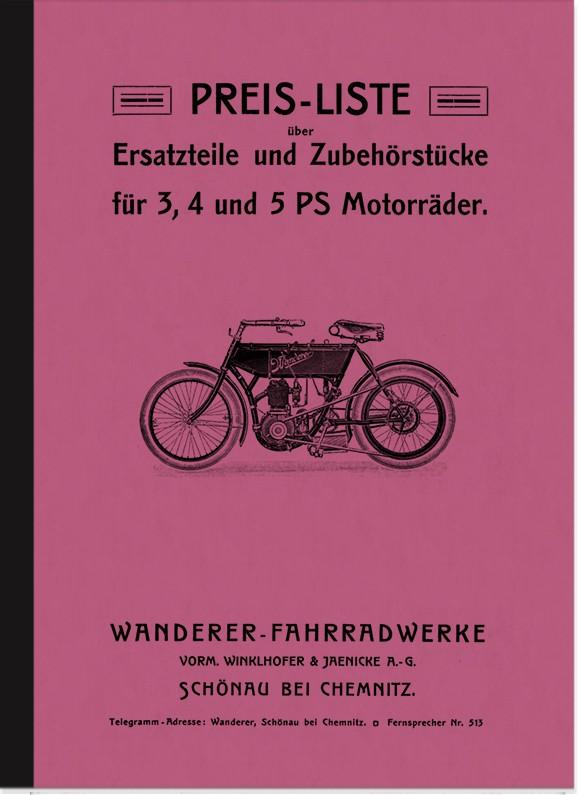 Wanderer 3 PS, 4 PS und 5 PS 1906 Ersatzteilliste Ersatzteilkatalog Teilekatalog