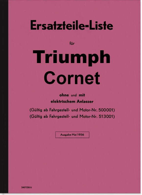 Triumph Cornet 200 cc spare parts list spare parts catalog parts catalog