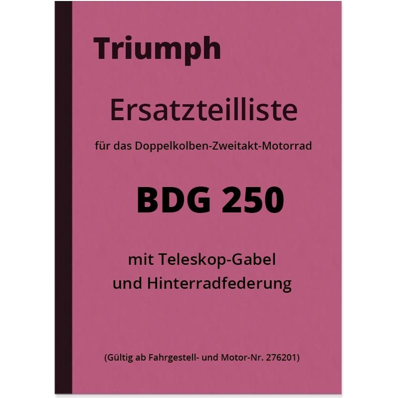 Triumph BDG 250 Ersatzteilliste Ersatzteilkatalog BDG250 H BDG-250 Teleskopgabel