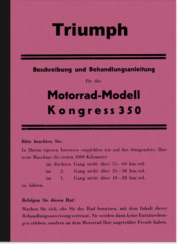 Triumph Kongress 350 1935 Operating Instructions Manual Description Treatment