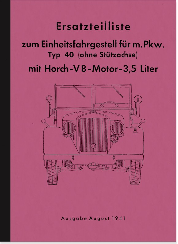Horch unit chassis type 40 spare parts list spare parts catalog parts catalog