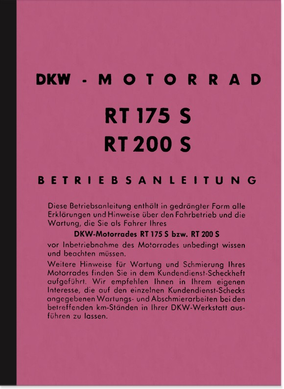 DKW RT 175 S/VS, 200 S/VS, 250VS Operating Instructions Manual