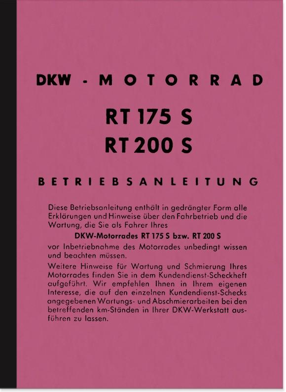 DKW RT 175 S/VS, 200 S/VS, 250VS Bedienungsanleitung Betriebsanleitung Handbuch