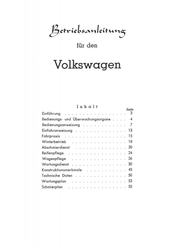 VW Käfer 1200 Operating Instructions Manual Operating Instructions