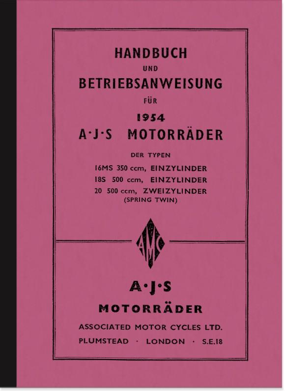 AJS 16 MS, 18 S und 20 Bedienungsanleitung (Spring-Twin) Handbuch Betriebsanleitung