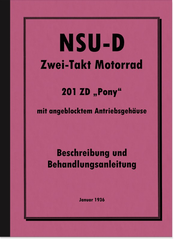 NSU NSU-D 201 ZD Pony Operating Instructions Manual Motorcycle