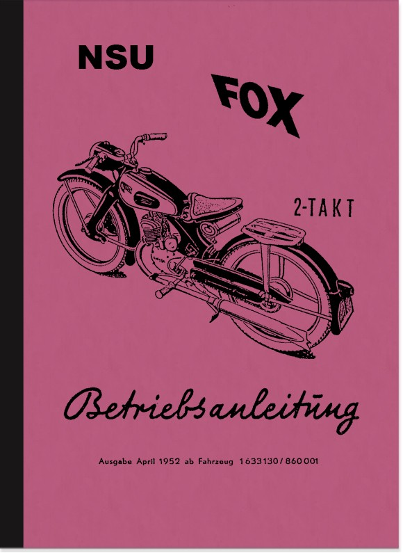 NSU Fox 2-stroke operating instructions manual operating instructions