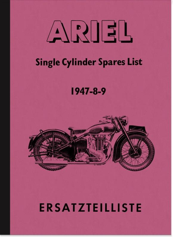 Ariel 350 500 600 cc 1-cylinder 1947-1949 spare parts list spare parts catalog parts catalog