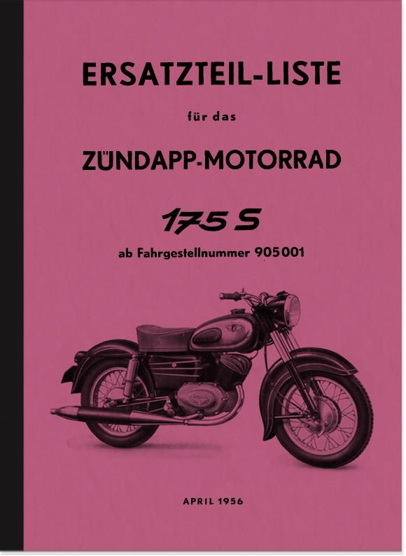 Zündapp 175 S Motorcycle spare parts list spare parts catalog parts catalog