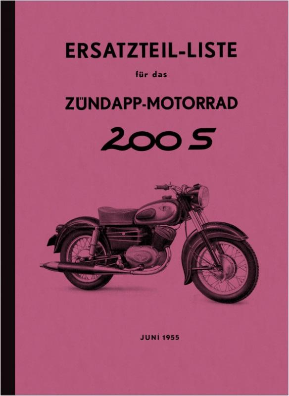 Zündapp 200 S 200S 1955 spare parts list spare parts catalog parts catalog