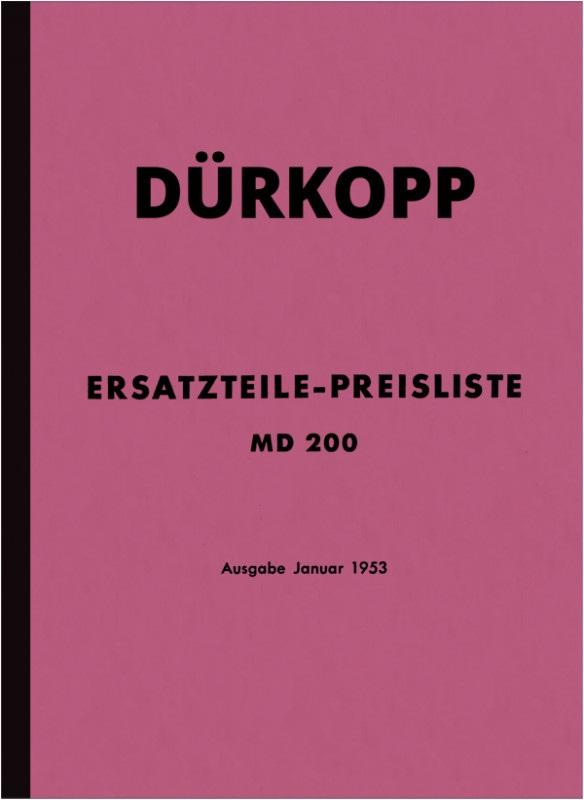 Dürkopp MD 200 spare parts list spare parts catalog parts catalog