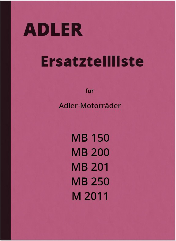 Adler MB 150, 200, 201, 250 and M 2011 spare parts list spare parts catalog