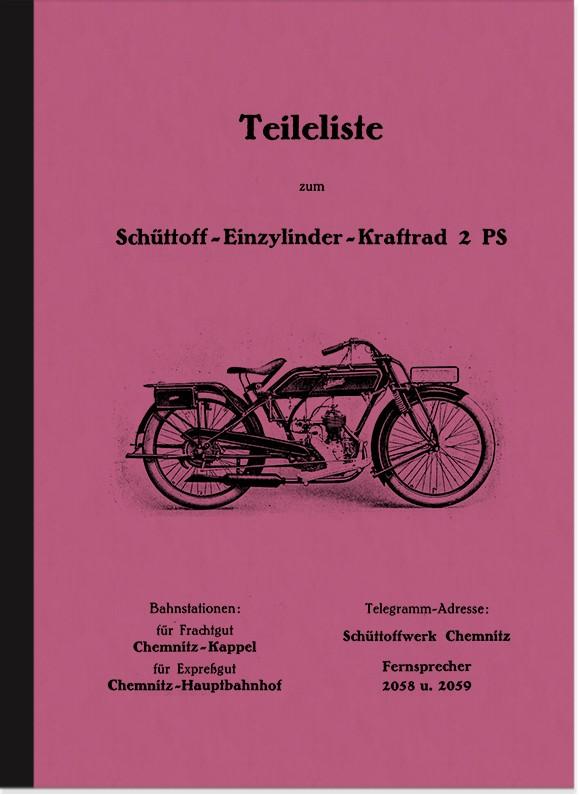 Schüttoff 2 and 2,75 PS 1925 spare parts list parts catalog spare parts catalog