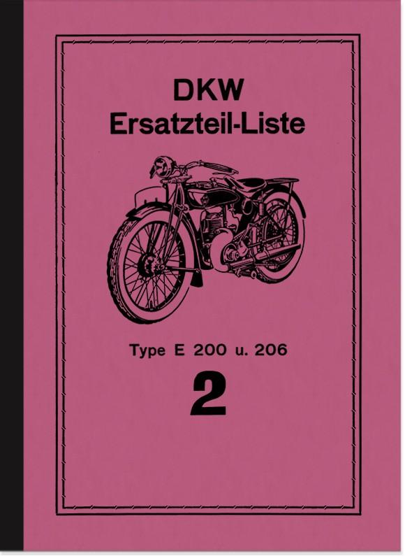 DKW E 200 and E 206 spare parts list spare parts catalog parts catalog
