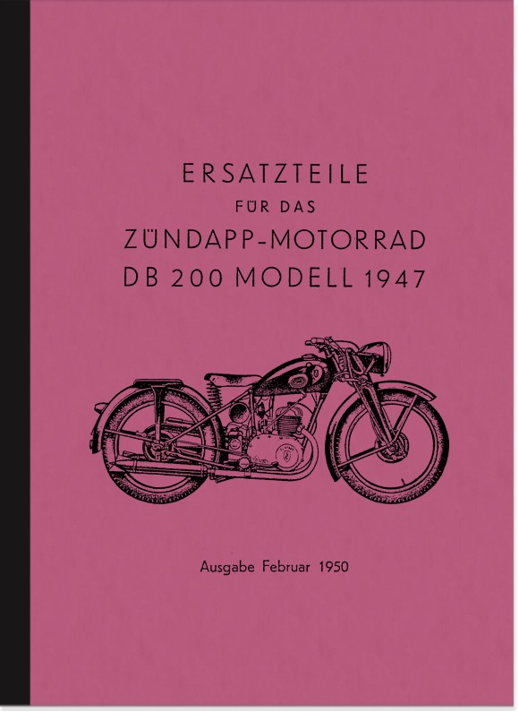 Zündapp DB 200 spare parts list spare parts catalog parts catalog