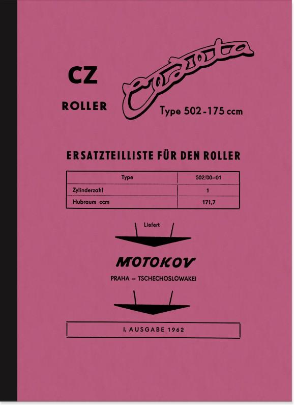 CZ Cezeta-Roller Typ 502 Ersatzteilliste Teilekatalog Ersatzteilkatalog