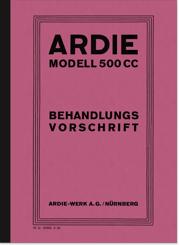 Ardie 500 cc 1929 instruction manual manual treatment regulation CC SV JAP