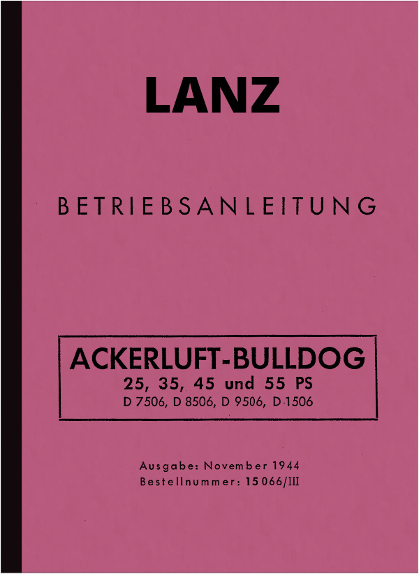 Lanz Bulldog (field air) Instruction manual (25/35/45/55 PS)