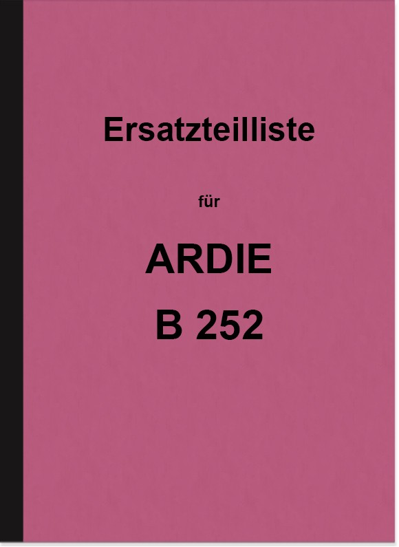 Ardie B 252 spare parts list spare parts catalog parts catalog B252 motorcycle