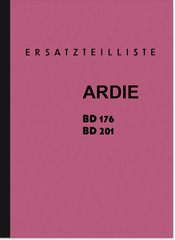 Ardie BD 176 201 Spare Parts List Spare Parts Catalogue Parts Catalogue