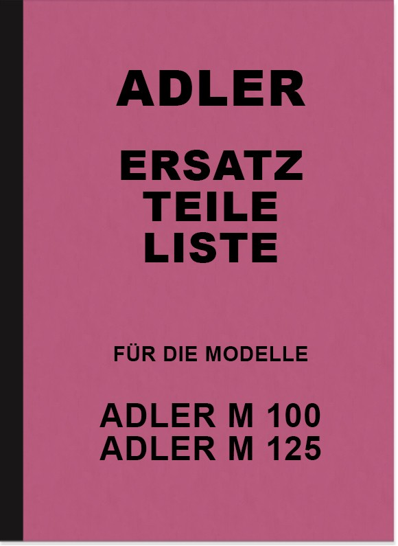 Adler M 100 and M 125 spare parts list spare parts catalog parts catalog
