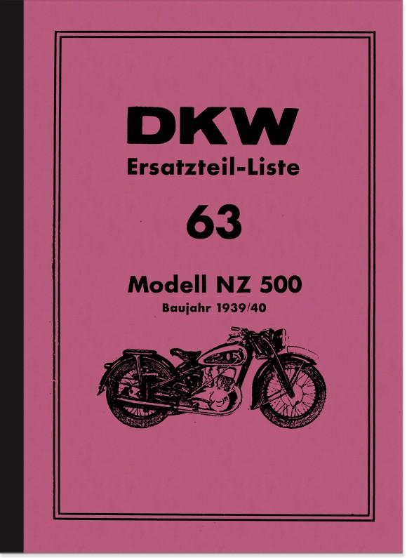 DKW NZ 500 Ersatzteilliste Ersatzteilkatalog Teilekatalog NZ500 Motorrad
