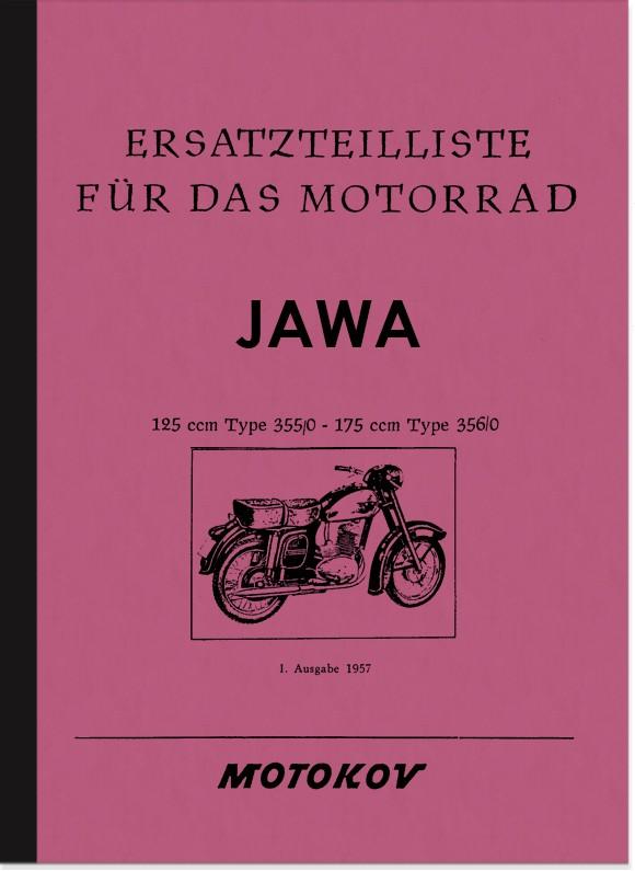 Jawa 125 ccm Typ 355/0 und 175 ccm Typ 356/0 Ersatzteilliste Ersatzteilkatalog Teilekatalog