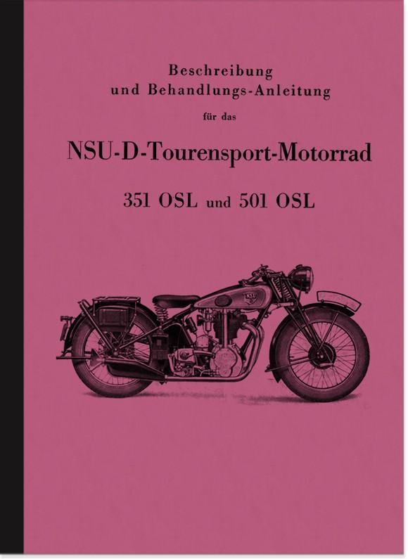 NSU NSU-D 351 und 501 OSL Bedienungsanleitung Betriebsanleitung Handbuch