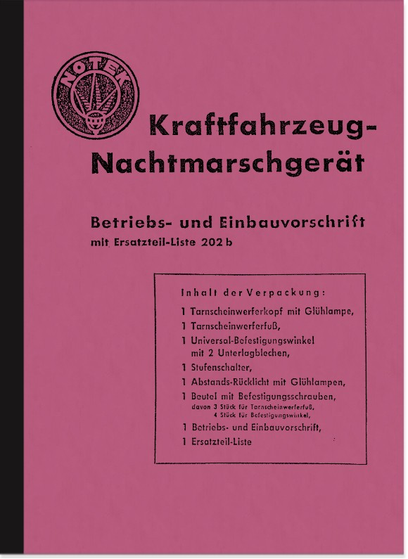 Notek KFZ night marching device operating instructions description spare parts list