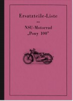 NSU Pony 100 from 1937 Spare parts list Spare parts catalog Parts catalog Parts list
