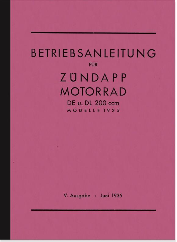 Zündapp DE 200 und DL 200 Bedienungsanleitung Betriebsanleitung Handbuch DE200 DL200