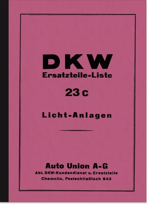 DKW Zündanlagen Lichtanlagen Ersatzteilliste (SB 200 KM 200 SB 350 SB 500 Block 200 Block 500)