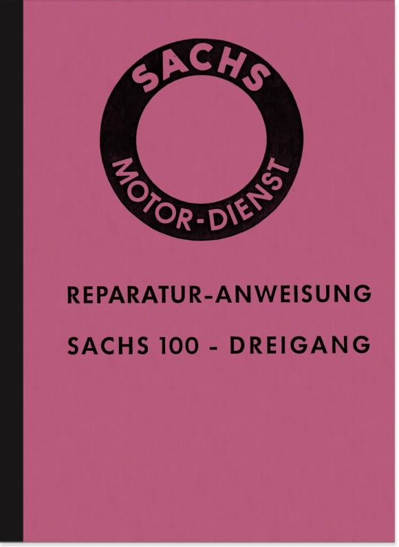Sachs 100 cc 3-speed engine 1958 repair manual (Hercules K 100 and K 101)