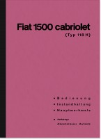 Fiat 1500 Cabrio (118 H) Operating Instructions Manual 118H 118K