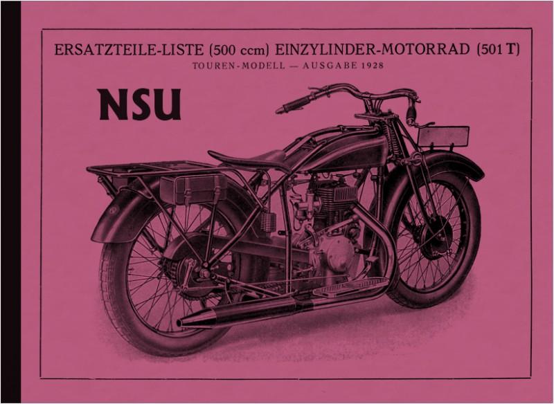 NSU 501 T und S Touren und Sport 1928 Ersatzteilliste