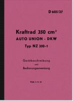 DKW NZ 350-1 Operating Instructions Description Manual Service Instructions D 605/27