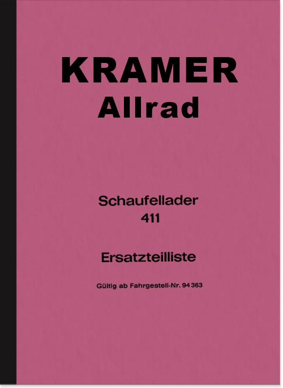 Kramer Allrad Shovel Loader 411 Spare Parts List Spare Parts Catalogue Parts Catalogue
