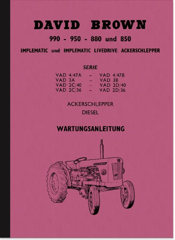 David Brown Tractor 990 950 880 850 Maintenance Manual
