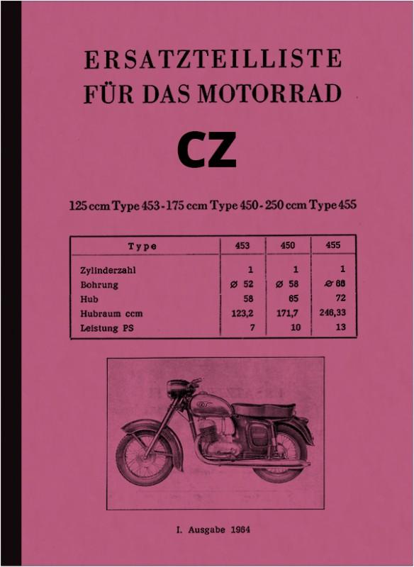 CZ 125, 175 und 250 ccm  (Typ 453 473 450 455 470 475) Ersatzteilliste Ersatzteilkatalog Teileliste
